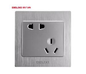德力西开关插座面板斜五孔插座银色墙壁电源插座 错位5孔 -皖淅电气