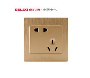 德力西开关插座面板 二三插10A电源五孔插座面板 错位斜五孔插座 760拉丝金- 皖淅电气